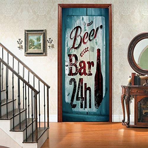 CURTAINSCSR Vinilo decorativo para puerta de pared, diseño de cerveza, decoración del hogar, pegatinas de papel autoadhesivas, pegatinas de pared, vin...
