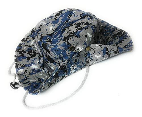KGM Accessories Stylischer Fleck Tarn Camouflage Baumwolle Safari Sonnenhut Camo – Outdoor Festival Hüte (blau)