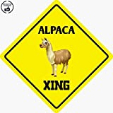 Alpaca Crossing Funny Aluminum Metal Plate Gift Sign Novelty Sign 12'x12' (DIAGONALLY) for Home/Man Cave Decor