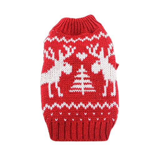 Deggodech Cucciolo di Cane Natale Maglia Maglione con Renna di Natale Design Vestiti Invernale per Natale Animale Domestico Cane Gatto Maglieria Costume Caldo Inverno Cappotto Rosso & Bianco (M)