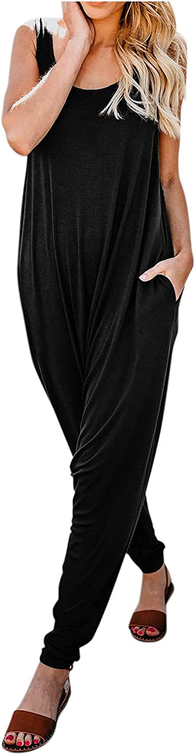 A2A Autumn Rompers for Women Casual Sleeveless Spaghetti Strap Jumpsuits Stretchy Loose Long Pants Romper with Pockets