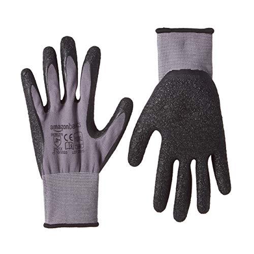 Amazon Basics Arbeitshandschuhe mit Latexbeschichtung, Nylonfutter, Grau, Größe 10/XL, 6 Paar