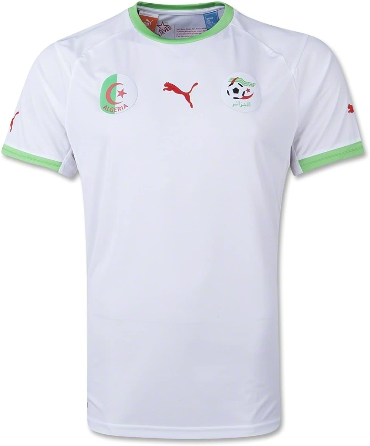 Puma Algeria White Green Authentic Performance Home Soccer Jersey (XL)