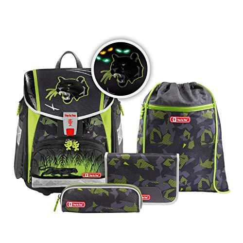 """Step by Step Ranzen-Set Touch 2 Flash """"Black Cat"""" 4-teilig, schwarz-grün, Dschungel-Design, ergonomischer Tornister mit Reflektoren, höhenverstellbar für Jungen 1. Klasse, 21L"""