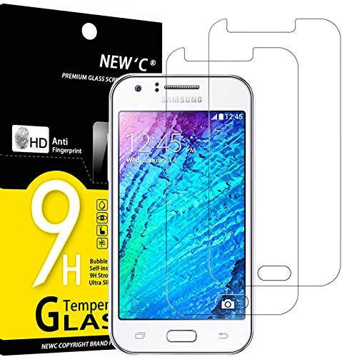 NEW'C 2 Stück, Schutzfolie Panzerglas für Samsung Galaxy J1, Frei von Kratzern, 9H Festigkeit, HD Bildschirmschutzfolie, 0.33mm Ultra-klar, Ultrawiderstandsfähig