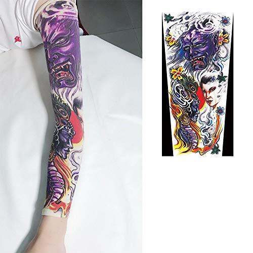 MTCDBD 2Pcs Arts Faux Bras Tatouage Temporaire De L'Écran Solaire, Manches en Soie De Glace Body Art, Protecteur De Bas Violet Dessins Tribal Démon Femme Unisexe Motif Accessoires Cosplay Extensible