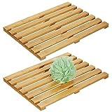 mDesign Juego de 2 alfombras de bambú – Alfombrilla de baño rectangular de bambú ecológico –...