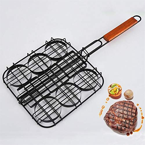 Jinqiuyuan BBQ Grill Korb, Kleine Hamburger Non-Stick Grill Basket Werkzeug Einzelne Frikadelle Presse Mini Burger Press Set Frikadelle Burger Basket Set Grillzubehör (Color : Red)