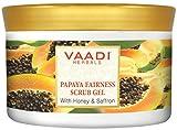 Vaadi Herbals Papaya Fairness Facial Scrub Gel With Honey & Saffron - Lightening & Brightening The Skin Tone - 500 Gm (17.64 Oz) - All Natural -