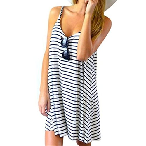 Best Price haoricu Women Dress, Fall Women Summer Sleeveless Striped Loose Mini Dress Beach Party Ca...
