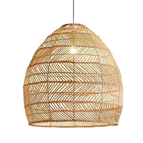 CHANG JIAER Wicker Pendant Light, Weave Cane Rib Bell Hanging Ceiling Lamp Pendant Light, Wicker Rattan Shades Weave Lamp Light Fixtures Chandelier Dinging Room
