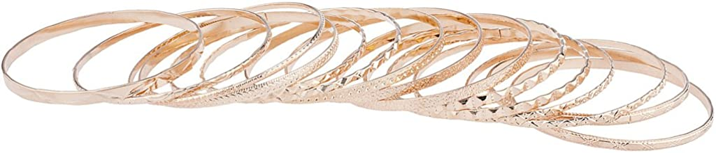 LUX ACCESSORIES Rose Gold Tone Aztec Etched Cased Multi Bangle Set of 15