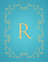 R: Modern, stylish, capital letter monogram ruled notebook with gold leaf decorative border and baby blue leather effect. Pretty and cute with a ... use. Matte finish, 100 lined pages, 8.5 x 11.
