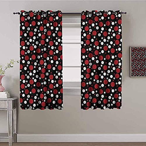 LTHCELE Blackout Curtains for Bedroom - Black red spots art - 3D Print Pattern Eyelet Thermal Insulated - 55 x 63 inch - 90% Blackout Curtains for Kids Boys Girls Playroom
