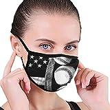 Máscara de media cara para mujer y hombre, transpirable, protección antipolvo, para Halloween, Navidad, fiesta de cumpleaños, bandera de béisbol americana, color blanco y negro