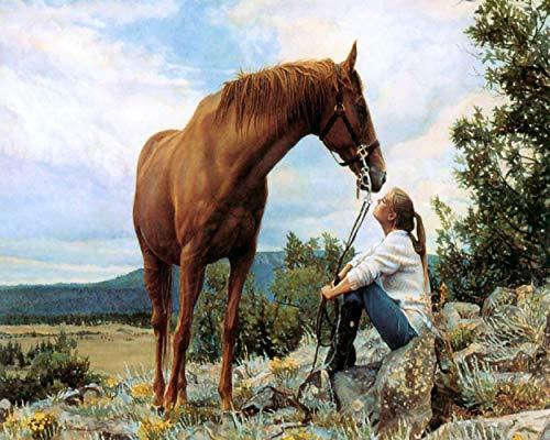 DIY Schilderen by Numbers, Mens En Paard, Kleurpigment Brush, Kunst Handgeschilderde Digitaal Olieverfschilderij 40X50cm (Frameless)