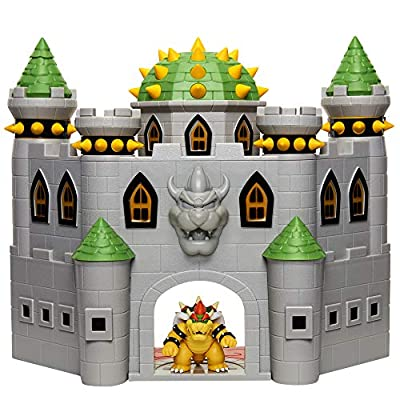 "Nintendo Bowser's Castle Super Mario Deluxe Bowser's Castle Playset with 2.5"" Exclusive Articulated Bowser Action Figure, Interactive Play Set with Authentic in-Game Sounds by Jakks"