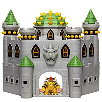 Super Mario 400204 Nintendo Bowser s Castle Super Mario Deluxe Bowser s Castle Playset with 2.5  Exclusive Articulated Bowser Action Figure Interactive Play Set with Authentic In-Game Sounds