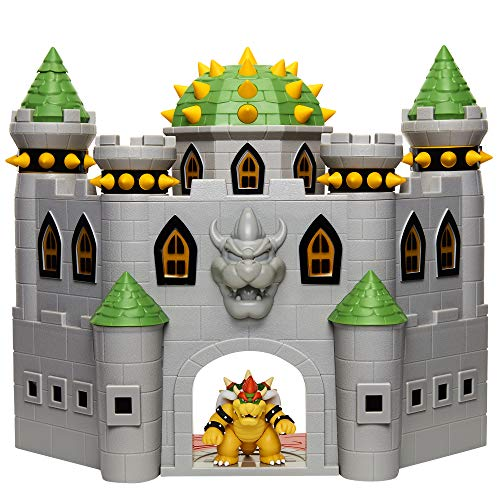 Super Mario 400204 Nintendo Bowser's Castle Super Mario Deluxe Bowser's Castle Playset with 2.5' Exclusive Articulated Bowser Action Figure, Interactive Play Set with Authentic In-Game Sounds
