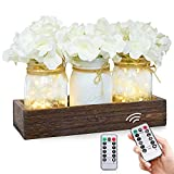 Fowecelt Mason Jar Lights Centerpiece Decorative Wood Tray with Artificial Flowers, Rustic Country Farmhouse Home Decor for Herb Plants Coffee Table Dining Room Living Room Kitchen Garden