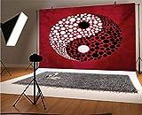Ying Yang - Fondos de vinilo para fotografía (30,5 x 10 m), diseño gráfico abstracto Yin Yang círculo, color blanco y negro, diseño de puntos y fondo energético, para telón de fondo de fotografía