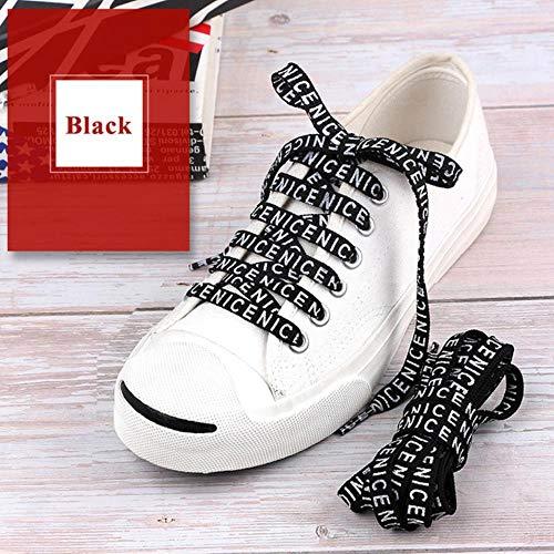 Huien bedrukbare schoenveter met sneaker Force Force sportschoenen 7 mm schoenveter, zwart, 120 cm