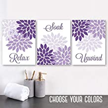 Purple Flower Bathroom Wall Art Purple Flower Bathroom Decor Canvas or Prints Relax Soak Unwind Quote Purple Bathroom Quotes Set of 3 8x10 inch