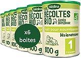 Blédina Les Récoltes Bio 1er âge ( 0-6 mois ) - Lait pour nourrissons en poudre, dès la naissance et jusqu'aux 6 mois de bébé - Pack de 6 Boîtes de 800g