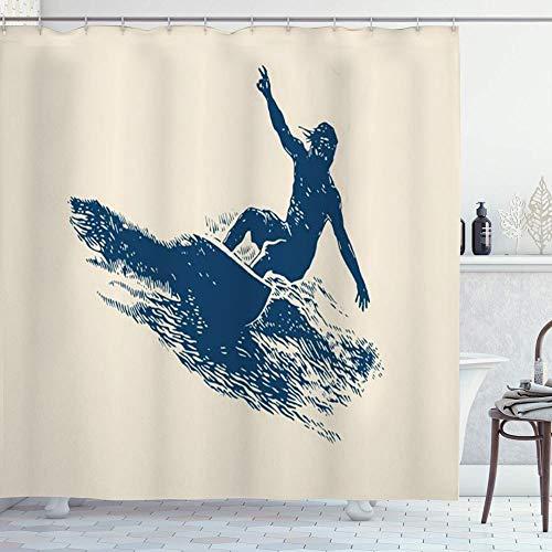 NR Duschvorhang,Sport Summer Beach Surfen Design Surfer Emblem Extreme Wave Surf Sport Erholung Insel Retro,Badvorhang Badezimmer Hochwertig mit Haken Set Wasser Resistent 180 x 180 cm