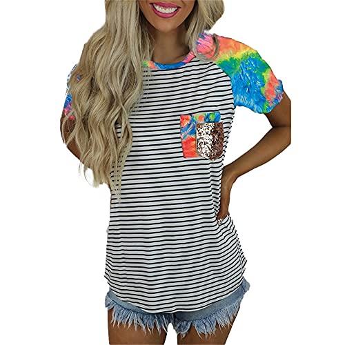 Elesoon Camiseta de verano para mujer de manga corta con estampado de leopardo con rayas de lentejuelas y cuello en O, A-verde, 44