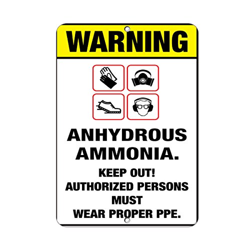 Aluminum Vertical Metal Sign Multiple Sizes Warning Boots Gloves Goggles Respirator Anhydrous Ammonia Chemical Hazard & Labels with Border Weatherproof Street 12x18Inches
