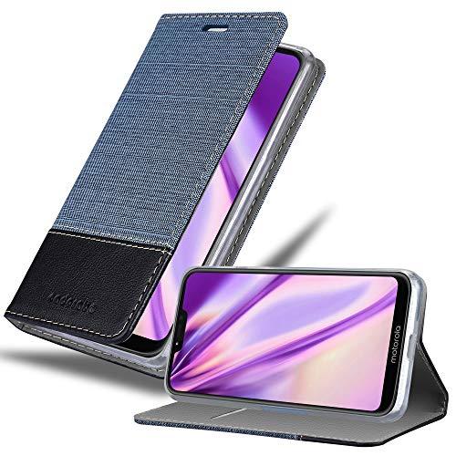 Cadorabo Hülle für Motorola Moto G7 Power in DUNKEL BLAU SCHWARZ - Handyhülle mit Magnetverschluss, Standfunktion & Kartenfach - Hülle Cover Schutzhülle Etui Tasche Book Klapp Style