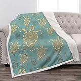 Jekeno Mandala Turtle Sherpa Blanket Soft Warm Plush Fluffy Print Throw Blanket for Kids Adults Gift Sofa Chair Bed Office 50'x60'