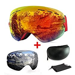 Ski goggles, with fittings and UV protection, for winter sports, snowboard goggles with interchangeable, spherical dual lenses, for men, women and teenagers, for snowmobiles, skiing or skating