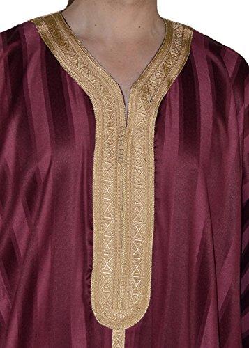 Moroccan Men Dress Caftan Handmade With Embroidery Tread Long Sleeve Burgundy
