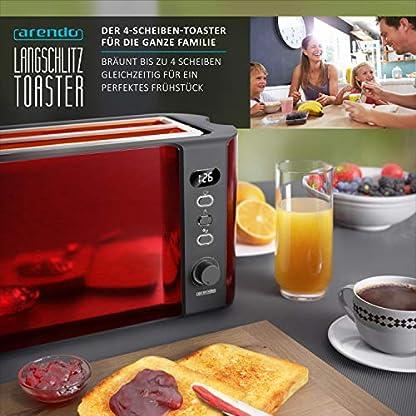 Arendo-Edelstahl-Toaster-Langschlitz-4-Scheiben-weissrot