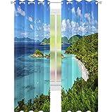 YUAZHOQI Cortina opaca con vista panorámica de la playa en la bahía del tronco en San Juan, cortinas personalizadas, 132 x 241 cm