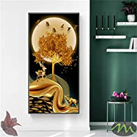 風景ゴールデンツリームーンモダン装飾画像キャンバスウォールアートポスタールームポーチハンガー付きオフィス装飾-50x150cm.19x59inch [フレームなし]