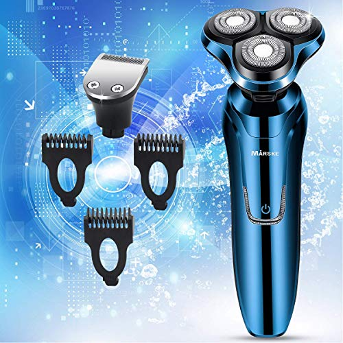 Electric Razor, Electric Shavers for Men, Dry Wet Waterproof Mens Rotary Facial Shaver, Portable Face Shaver Cordless Travel USB Rechargeable with Hair Clipper for Shaving Husband Dad