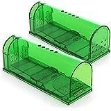 com-four® 2X Trampa Viva - Trampa para Ratones amigable con los Animales - Trampa para roedores no tóxica y fácil de Usar con Orificios de ventilación (2 Piezas - Trampa Viva Verde)
