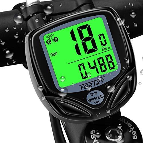 FORTRY Fahrradcomputer Wireless 16 funktionen IP54 Wasserdichtes LCD-Display - Universeller intelligenter Radcomputer mit EIN Knopf Wecken Funktion und Tag+Nacht Modus-tacho Fahrrad (schwarz)