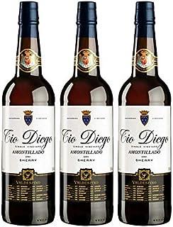 Vino Amontillado Tio Diego de 75 cl - D.O. Jerez - Bodegas Grupo Estevez (Pack de 3 botellas)
