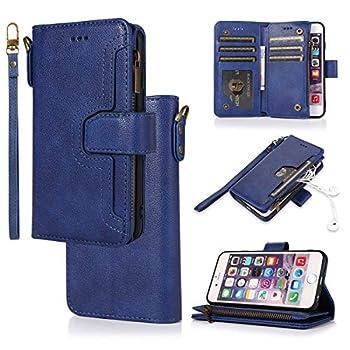 Huawei P30 Lite Case Nova 4e Case Gift_Source Flip Wallet Shell PU Leather Handbag Phone Case Stand Cover with Card Holder/Zipper Pocket & Wrist Strap for Huawei P30 Lite/Nova 4e 6.15  [Blue]