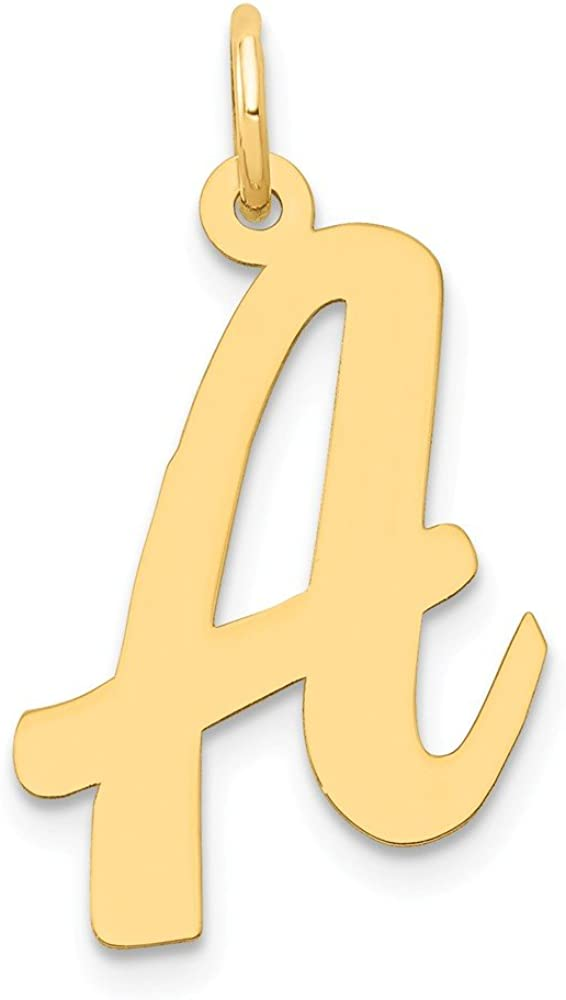 Solid 14k Yellow Gold Large Script Initial Letter A Alphabet Charm Pendant - 22mm x 14mm