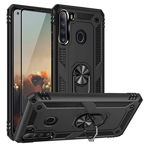 TJS Compatible with Samsung Galaxy A21 Case, with [Full Coverage Tempered Glass Screen Protector] Resistant Metal Ring Magnetic Support Kickstand Phone Case Drop Protector Back Cover (Black)