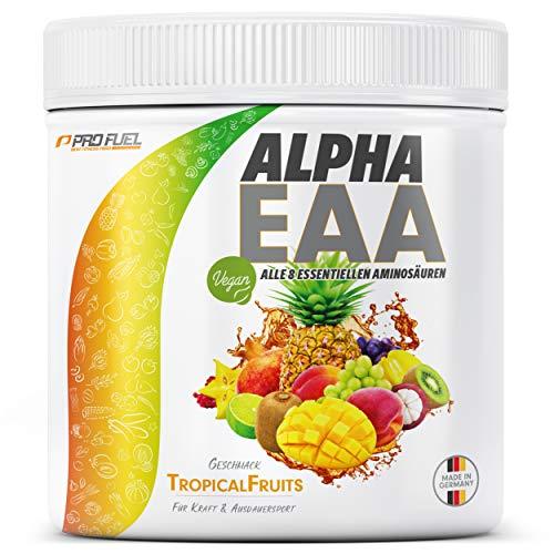 ALPHA EAA Pulver | Enthält 8 essentielle Aminosäuren | Vegan EAAs Aminosäuren Pulver | Amino Workout Drink | MADE IN GERMANY | Optimale Wertigkeit | Leckerer Geschmack (Tropical Fruits)