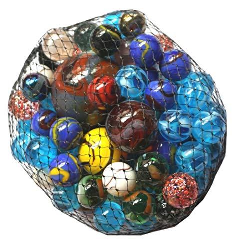 CBK-MS. 500g Glas Murmeln Mehrfarbig Sortiert im Netz Verschiedene Größen Knicker