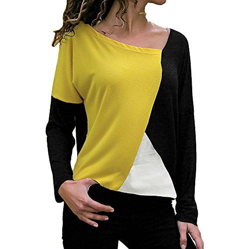 Tooth Damen Tops T-Shirt Langarmshirt Shirt Sommer Herbst Casual Frauen Langarm Rundhals Ausschnitt Lose Hemd Pullover Sweatshirt Oberteil Bluse 2019(Gelb,S)