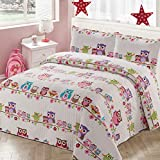 Luxury Home Collection 3 Piece Full/Queen Size Quilt Coverlet Bedspread Bedding Set for Kids Teens Girls Owls Flowers Pink Purple Brown Orange White Blue