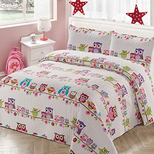 Luxury Home Collection 2 Piece Twin Size Quilt Coverlet Bedspread Bedding Set for Kids Teens Girls Owls Flowers Pink Purple Brown Orange White Blue (Twin Size)